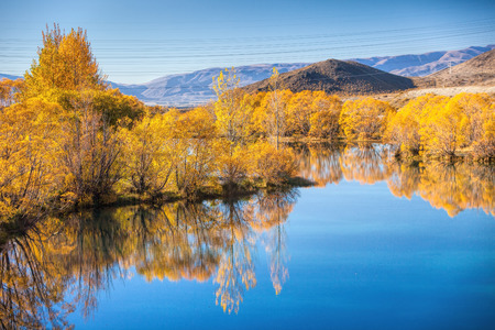 Autumn trees around blue pond photo