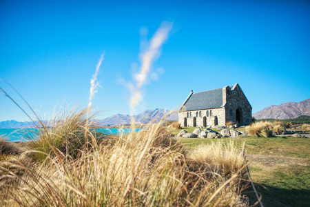 tekapo: Church of the Good Shepherd, Lake Tekapo, New Zealand Stock Photo