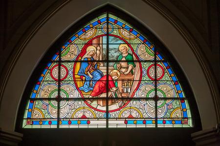 amphawa: Stained glass window of Maephra bangkerd church, Amphawa, Thailand