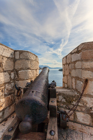 barrel tile: Canon on the fortress in the old town of Dubrovnik, Croatia