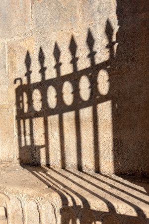 Shadow of Church fence in Zadar old town , Croatia photo