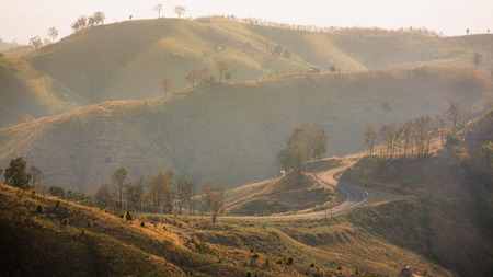 tortuous: Tortuous road on top of the mountain range with beautiful view, Nan province, Thailand