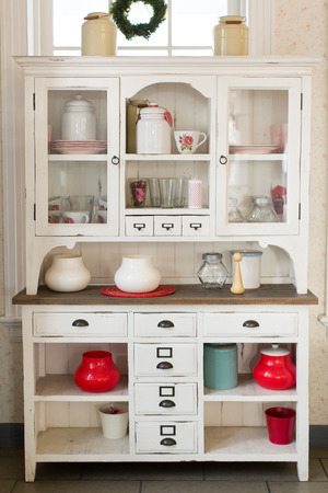 kitchen ware: Antique kitchen cabinet and old style kitchen ware