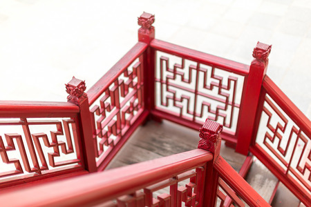 Old fashion Chinese stlye wooden staircase
