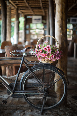 log basket: Antique bicycle with a flower basket parked inside log cabin