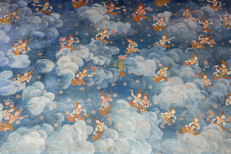 popular belief: Water color painting of guardian angles on wall in ancient temple in Bangkok, Thailand Stock Photo