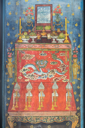 offering: Water color painting of offering table with dragon painting on wall in ancient temple in Bangkok, Thailand
