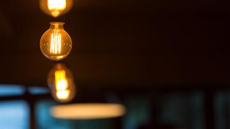 Hanging retro light bulbs against dark background.
