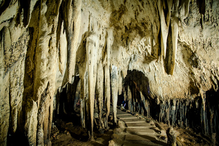 hollow wall: Beautiful stalactites inside Chompol cave in Rachaburi province Thailand
