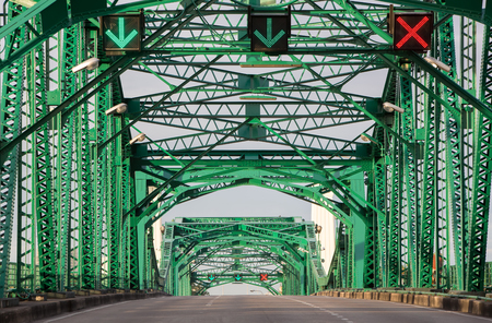 modern bridge: Memorial bridge, the oldest bridge that cross Chao Phraya river, Bangkok, Thailand. Stock Photo