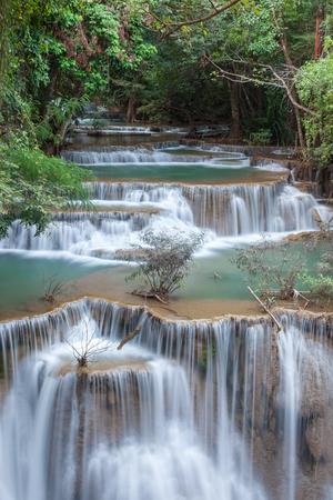 khamin: Beautiful cascade of Huay mae khamin waterfall in Kanchanaburi , Thailand.