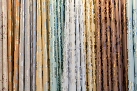 eye shade: Colorful frabric curtain in a living room.