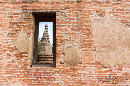 antique frame: Ancient and ruin stupa in Ayuttha historical park