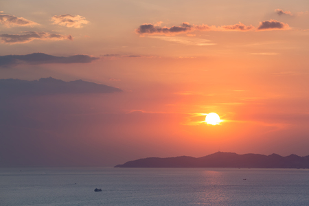 Colorful sunset at Pattaya bay ,Chonburi, Thailand from above.
