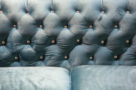 blue velvet: Close up of light blue  Velvet  backrest sofa with vintage style.with vintage style.