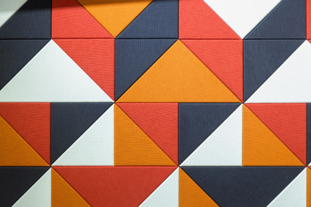 Closeup of colorful sound absorbent wall panel.