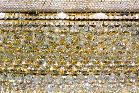 Closeup of  luxury crystal chandelier. Stock Photo