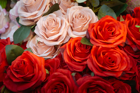 Close up of Pink and red Fabric roses  bouquet. Stock Photo