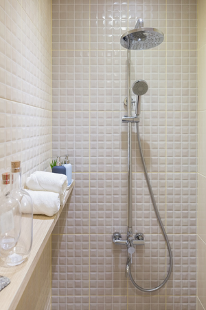 Shower room with decoration items on a wall shelf.