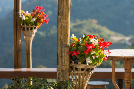 Flowers decorated in wicker flower pots in outdoor terrace with mountain view in the background.