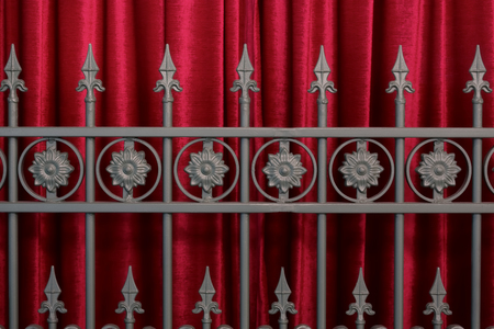 Arrows steel fence in front of red velvet curtain.