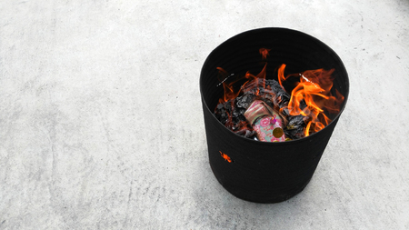 burn: chinese traditional burn paper Stock Photo