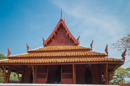 samut prakan: Thai house.House was modeled on the ancient city of policy. Samut Prakan, Thailand. Stock Photo