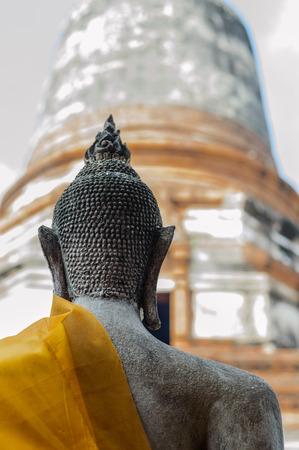 Buddha statue.Wat Phra Kaew located to the southeast of the islands capital. Current district Klongsuanplu Ayutthaya, Thailand