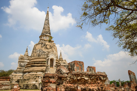 clergy: wat phrasi sanpetha temple in the ancient palace temple in Ayutthaya Thailand has no clergy.