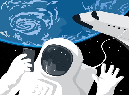 humourous: Astronaut selfie Illustration