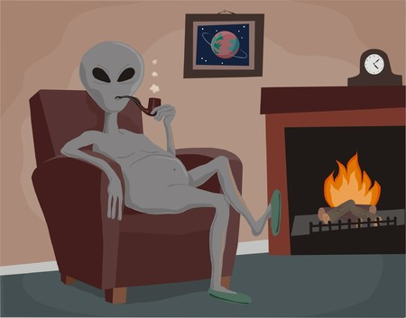 livingroom: Grey alien relaxing with a pipe
