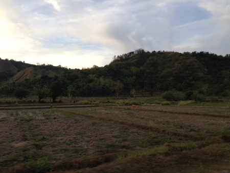 beside: A dry field beside a small hill