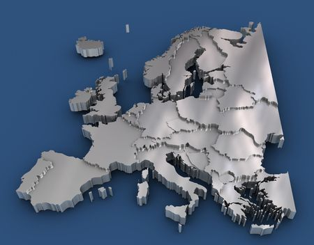 Europe with a metalic texture