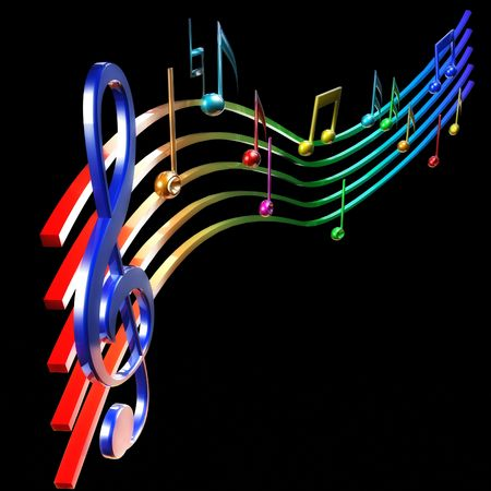 conservatory: Colorfull music notes Stock Photo