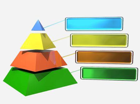 3D Pyramide unterteilt in 4 Stücken und Farben Standard-Bild - 6110146