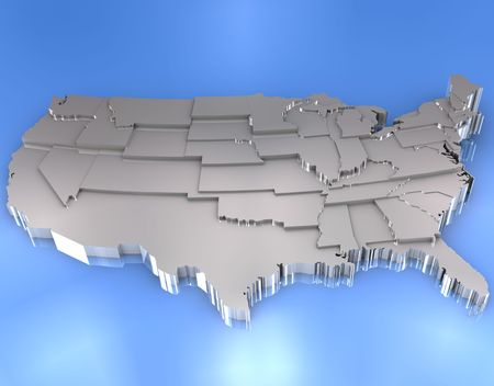 silver state: Metallic map of USA
