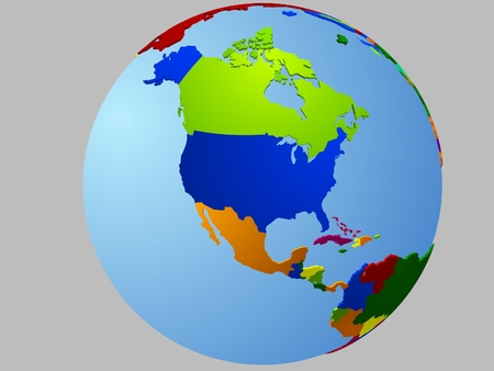 am�rique du nord: North America globe