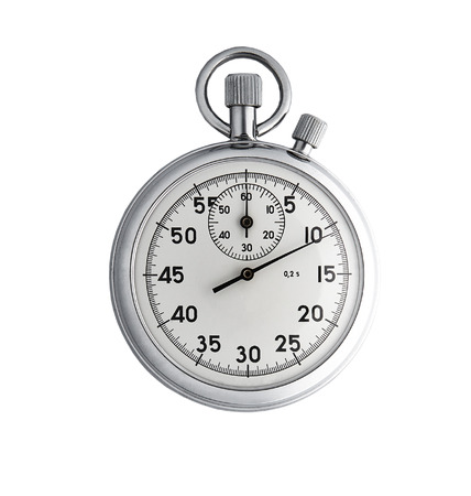 cronógrafo: Cronómetro analógico aisladas sobre fondo blanco