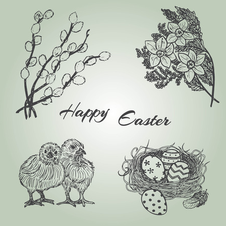 Ink hand drawn easter set with chicks, nest, eggs, flowers and pussy-willow