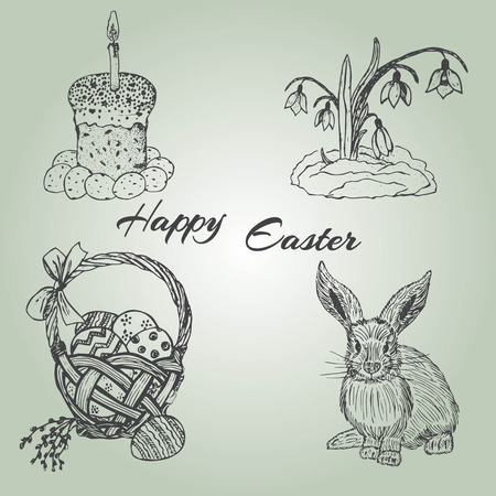 Ink hand drawn easter set with cake, basket, eggs, bunny and snowdrop