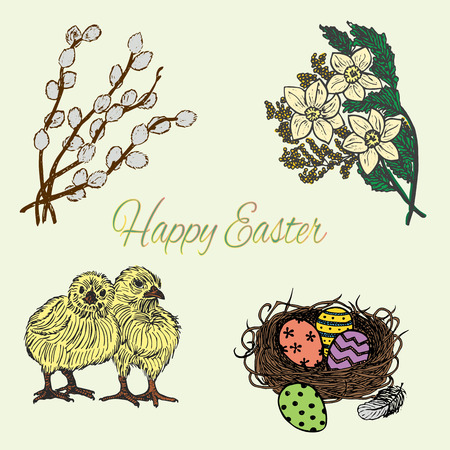 Ink hand drawn colourful easter set with chicks, nest, eggs, flowers and pussy-willow