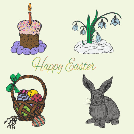 brown egg: Ink hand drawn colourful easter set with cake, basket, eggs, bunny and snowdrop