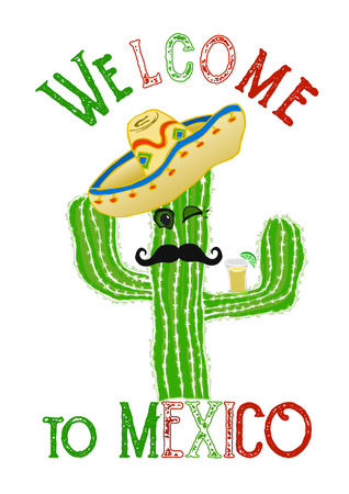 mexico cartoon: Funny cartoon cactus with sombrero and tequila, vector illustration, travel to Mexico concept Illustration