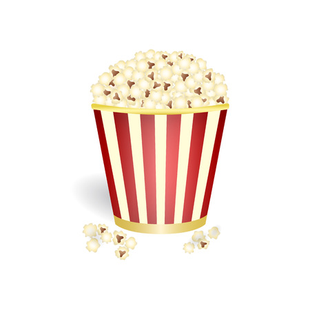 corne: Pop corn in red and yellow basket with stripes isolated on white background, vector illustration