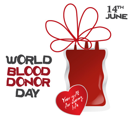 World blood donor day, vector illustration with dripper and heart sticker