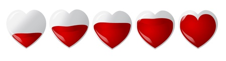 transfuse: Set of hearts fulled with blood, vector illustration