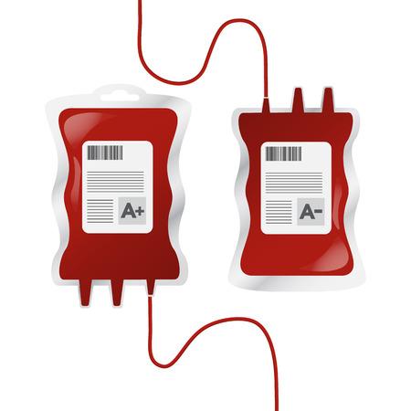 goteros: La donación de sangre, ilustración vectorial con goteros y los tipos de sangre Vectores