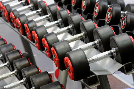 circular muscle: Dumbbells weights lined up in a fitness studio