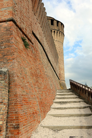 Defensive wall and tower of castel