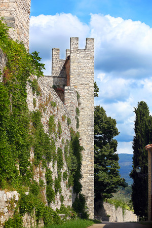 Defensive wall and tower of Castello Nipozzano – Tuscany, Italy